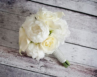 Peony Bouquet - Ivory Peony Rose and Calla Lily Wedding Bouquet