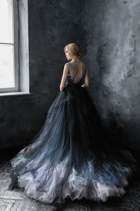 Black lace wedding dress // Calypso Nightfall / Tulle bridal