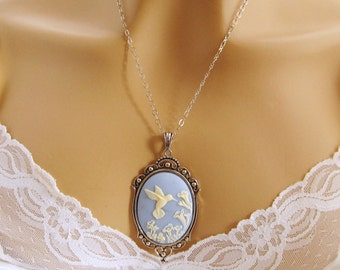 Blue Cameo: Victorian Hummingbird Blue Cameo Necklace, Antiqued Silver, Vintage Inspired Romantic Art Nouveau Jewelry