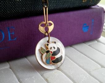 Enamel Panda Bear Vintage Button Pendant - Mother of Pearl + Gold Leaf Retro Button Necklace - Cloisonne Panda Animal Totem Bohemian Jewelry
