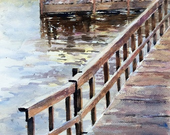 Fishing at the Lake Minnesota Side Lake original watercolor painting summer art