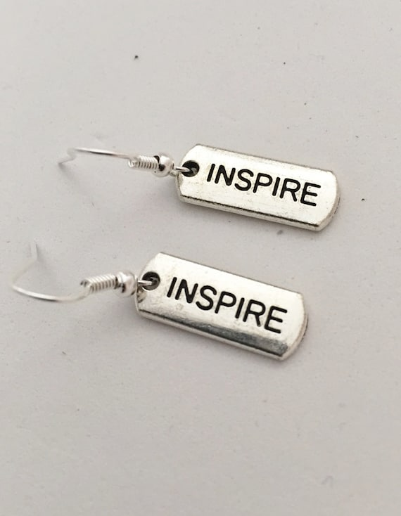 INSPIRE Charm Earrings, Inspirational Crossfit Gift, Crossfit Jewelry, Coach Team Captain Gift, Motivational Jewelry, Special Teacher Gift