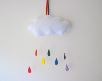 Felt Weather Plushies, Clouds, Rainbow Raindrops Wall Hangings, Nursery Decor, Playroom Wall Hangings