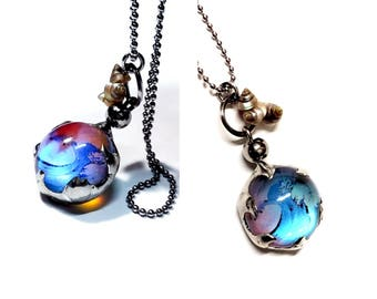 Wave Necklace with Tiny Shells Ocean Pendant Surfer Gift Beach Jewelry Iridescent Glass