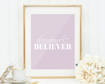 Quote Prints, Quote Postcard, Office Decor, Inspirational Print, Download, Art Postcard, Home Decor, Nursery Wall Art, Dreamer, Typography