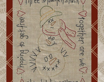 Stacked Snowmen-Primitive Stitchery E-PATTERN-Instant Download