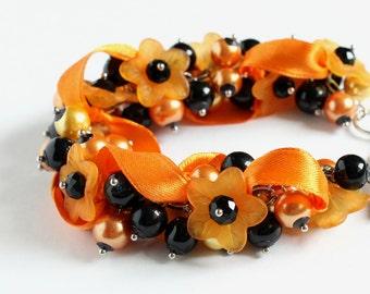 Halloween Orange Flower Cluster Bracelet and Earrings Set