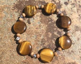 Tiger Eye Bracelet with Swarovski Crystal and Wood Accents