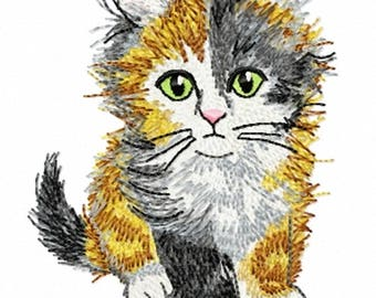 FLUFFY KITTEN - Machine Embroidery Design - cat pet