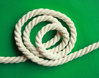 5 mm Cotton Rope = 10 Yards = 9.14 Meters of Natural and Elegant 100 % COTTON TWISTED CORD- Semi White- Offwhite- Raw White - not pure white