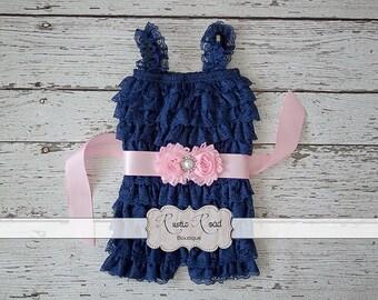 Navy Romper, Lace Romper, Baby Romper, Toddler Romper, Girls Romper, 1st Birthday Outfit, Cake Smash Outfit, Flowergirl Romper, Petti Romper