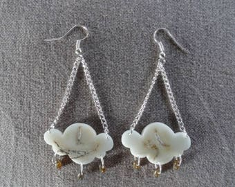 Earrings made of vegetal ivory - Cloud and Storm