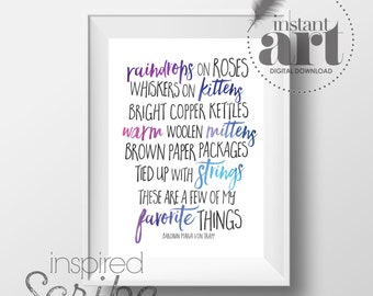 Favorite Things quote by Maria Von Trapp from Sound of Music with highlighted words in blues INSTANT DOWNLOAD