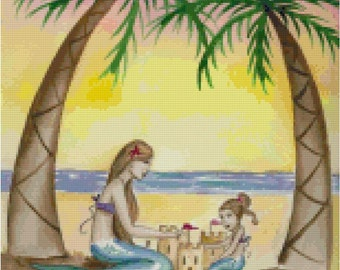 Sunset and Sandcastles Mermaid Counted Cross Stitch