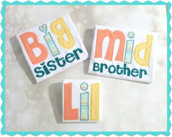 Embroidered Sibling Shirt-Big Brother -Little Brother -Middle Brother -Big Sister -Little Sister -Middle Sister -Personalized Sibling Shirts