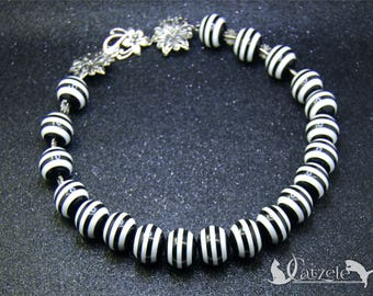 Beaded Necklace, Gift for Her, Statement Necklace, Black and White Funky Necklace