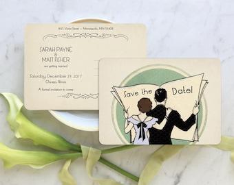 Postcard Save the Date, Art Deco Wedding, Engagement Party Invitation, 1920s Wedding Invitations, Roaring 20s Invitations - Newspaper