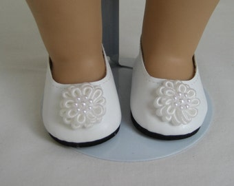 American Doll Accessories-Doll Shoes-Made to fit AMERICAN GIRL DOLLS, White Flower Trimmed Shoes Fit American Girl Dolls