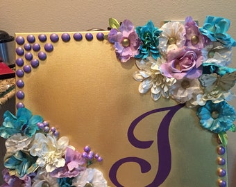 Purple, Gold, Turquoise & White canvas