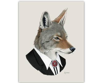 Coyote art print - Animal art - Nursery art - Nursery decor - Animals in Clothes - Children's art - Ryan Berkley Illustration 11x14