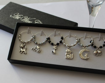 Cat lovers wine glass charms