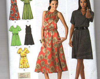 2929 Simplicity Sewing Pattern Pullover Dress Bodice Variations Choice Length Size 10 12 14