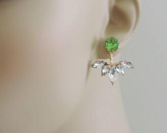 Ear Jackets - Gold Earrings - Peridot Earrings - Crystal Earrings - Stud Earrings - Bridal Earrings - Boho Earrings - Green Earrings