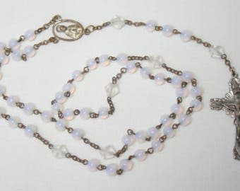 Vintage Glass Rosary w/ Round Opalescent Beads and Ornate Crufifix R305