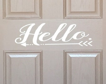 Hello front door sign // Hello Wall Decal // Hello Front Door Vinyl Lettering