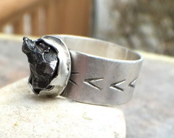 Meteorite Sterling Silver Wide Band Statement Ring - US Size 6.5