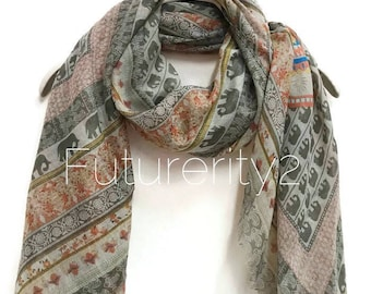 Bohemian Inspired Style Small Elephant Light Grey Scarf / Spring Summer Scarf / Gifts For Her / Women Scarves / Handmade Accessories