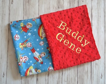 SALE Monogrammed Baby Blanket,  Minky Red, Blue Retro Rockets, Space Ships, Personalized, Vintage Look Blanket with Name Newborn, Astronaut