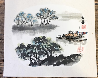Original Chinese Ink and Wash Painting - Zen Fisherman Water Town, 24x27cm, Chinese Painting, Wall Art, Home Decor, Great Gift!