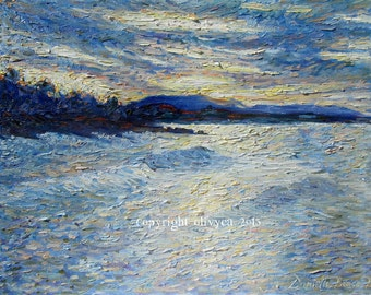 "Oil Painting, Ocean Landscape, Sunrise - Sunset,  Original Artwork Fine Art, Impressionistic, Pacific Southwest Coastline...16 x 20"""