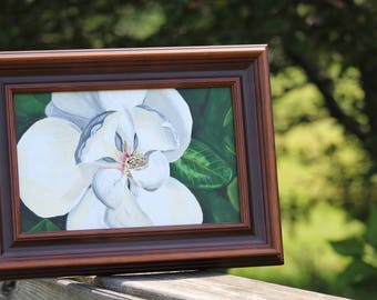 Framed Original Acrylic Painting, Magnolia Blossom