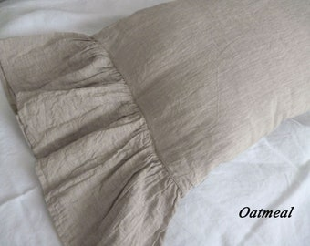 Shams Natural Linen Pillow, linen pillowcase with long ruffles,oatmeal ruffled pillow shams,linen bedding,linen pillow case with ruffles