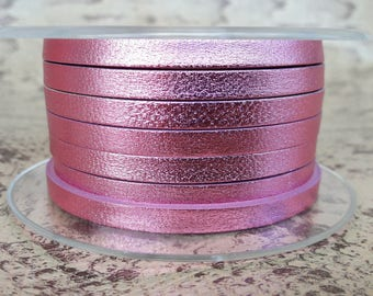 Pink metal 5mm flat leather European quality