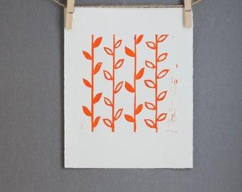 Orange Modern Linocut art PRINT Orange Flower Stems Linoprint 8x10