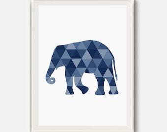Elephant Print, Geometric Animal Print, Elephant Art, Elephant Decor, Elephant Nursery, Modern Home Decor, Blue Navy Art, Triangle Wall Art