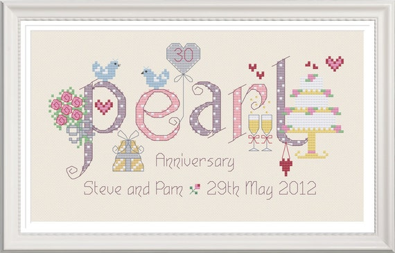 Pearl Gift Ideas For 30th Wedding Anniversary: Pearl 30th Wedding Anniversary Customisable Cross Stitch Chart