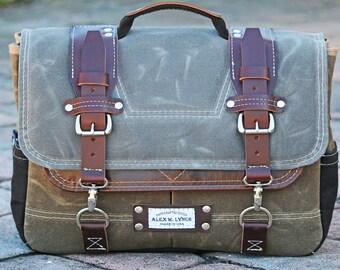 Waxed Canvas Messenger bag - laptop bag handmade by Alex M Lynch - 010094