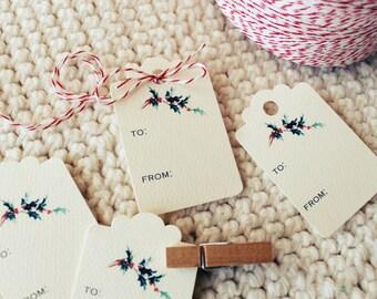 Holiday Gift Tags Christmas Vintage Style Hang Tag