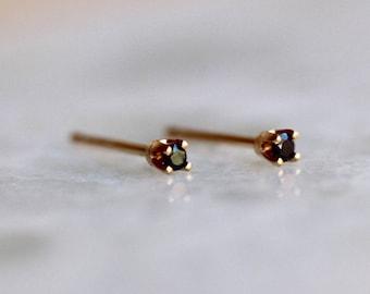 14K Tiny Black Diamond Studs