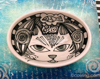 Cat Lover Ceramic Bowl - Ceramic Pottery Hand Painted Small Oval Shaped Bowl - Kitchen Decor by Artist Cindy Couling
