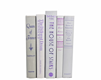 Gray Shimmer Decorative Books, Grey Book COllection, Purple Old book set, Wedding Centerpiece, Antique Books, Instant Library, Photo props