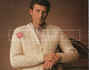 "Men's Cable Cardigan 40-52"" Aran Sirdar 6187 Vintage Knitting Pattern PDF instant download"