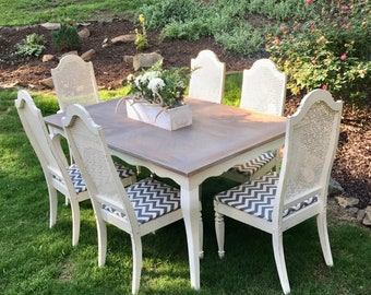 French Provincial Dining Set Solid Wood Table and 6 Antique Cane Back Chairs Covered Reclaimed Dining Vintage Dining Set Antique Chairs