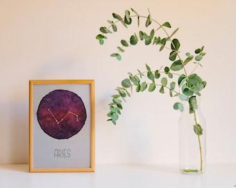 Watercolour • Aries • Aries • Zodiac sign • Logo • A5