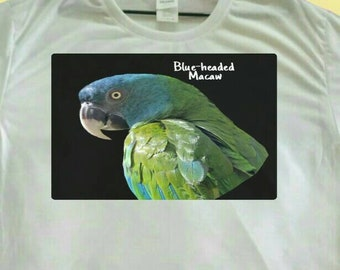 Blue-headed Macaw Parrot Polyester White T-shirt Tee