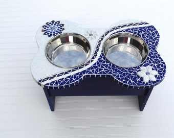 Elevated Large Dog Feeder, mod mosaic diner, raised dog bowls, couture dog station, gifts for pets, food bowls for dogs